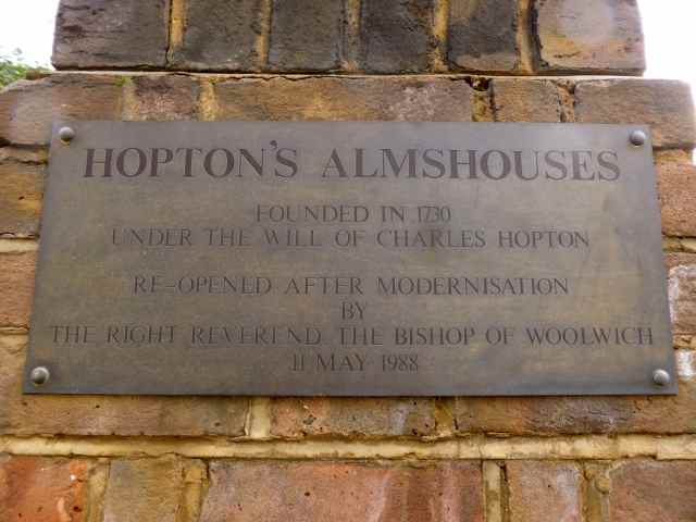 Hopton's Almshouses sign