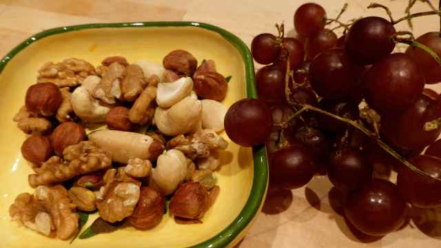 nuts and grapes