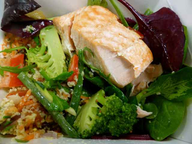 salmon and mixed salads