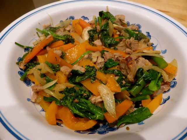 Stir fried pork and veg