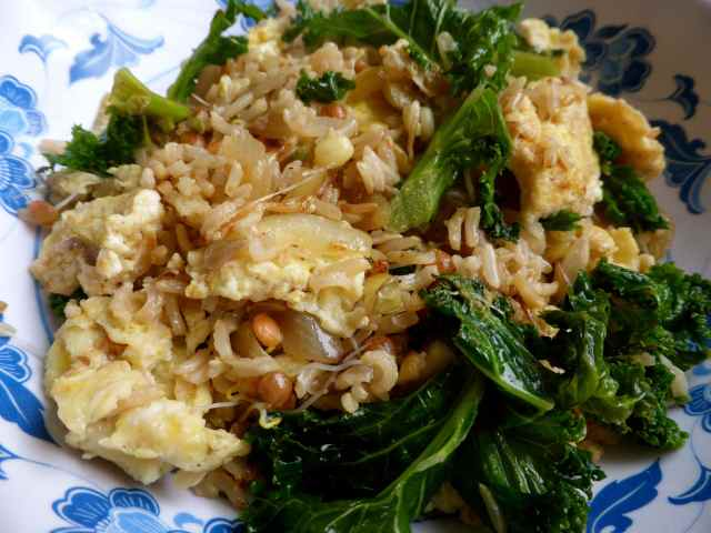 stir fried rice and kale