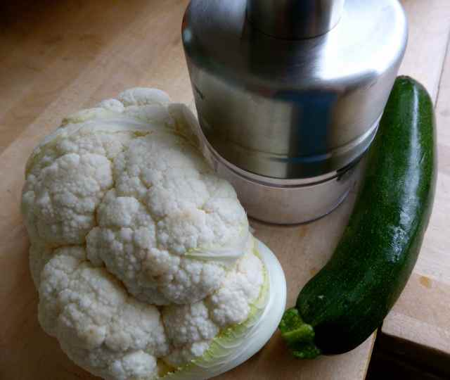 cauliflower and courgette with chopper
