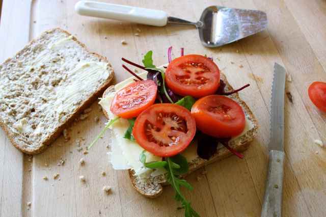 cheese and salad sandwich