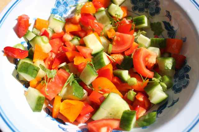 chopped vegetables and herbs