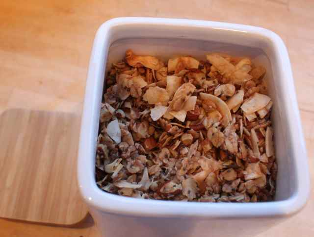 coco nutty granola in white storage jar