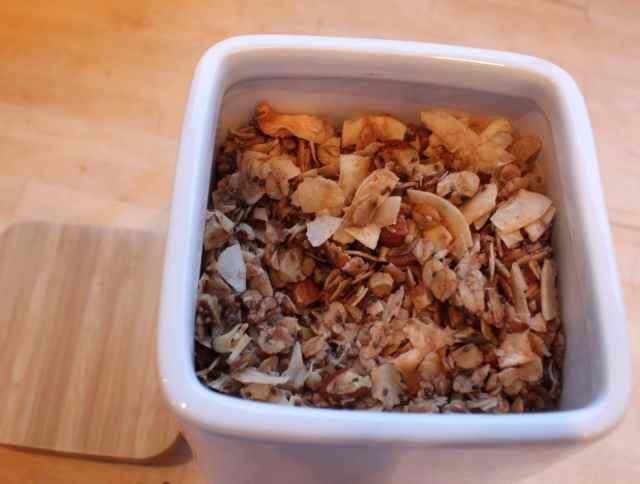 coco nutty granola in white storage jar