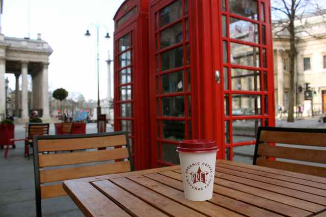 Red phone boxes and coffee