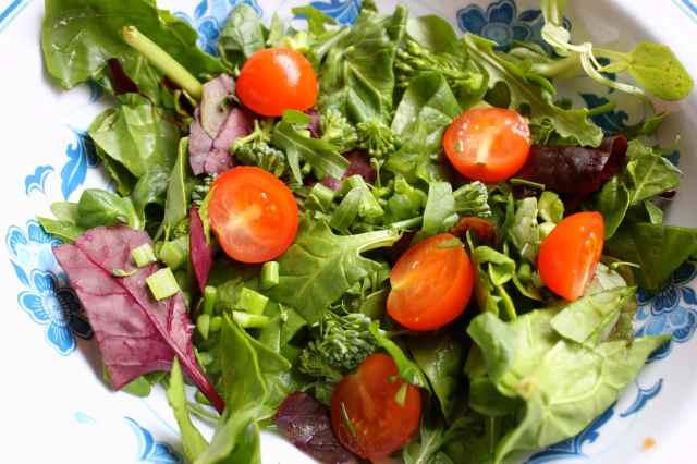 salad base in bowl