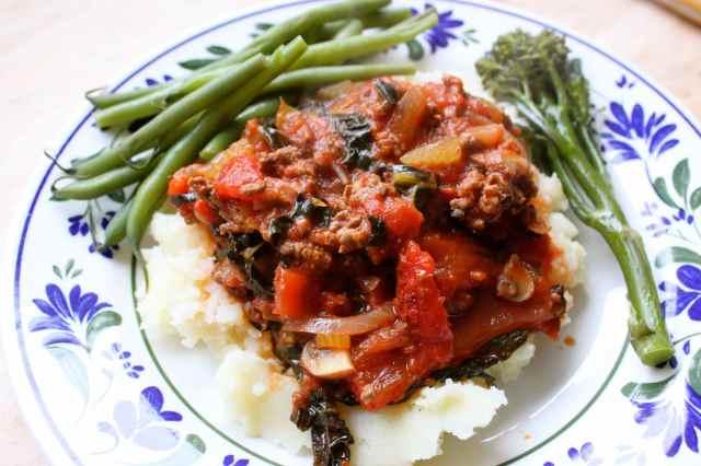 vege-bolognaise dinner