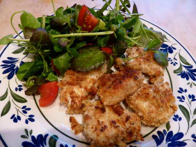 chicken nuggets and salad