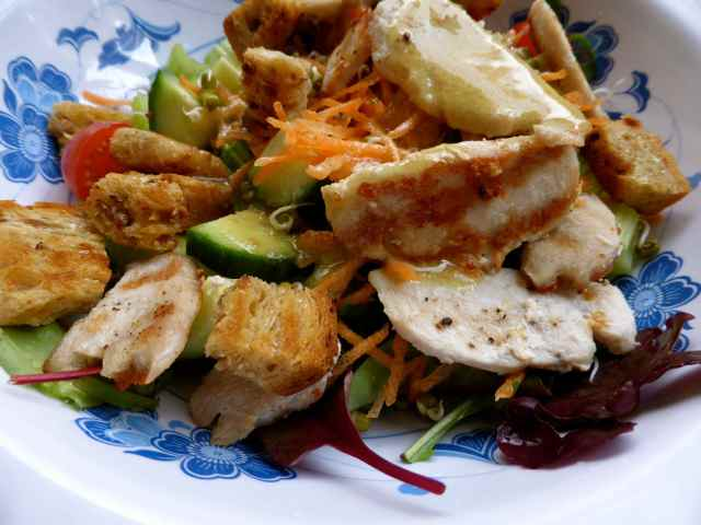 chicken salad and croutons
