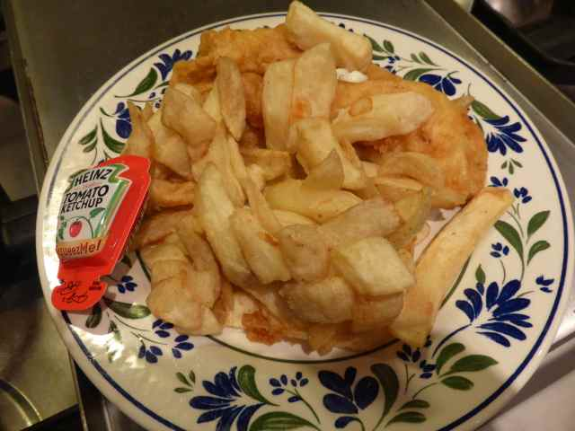 Fish and chips and ketchup