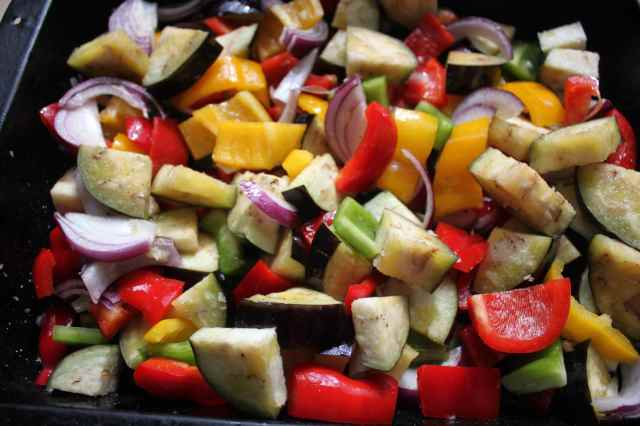 tray of roasted veggies