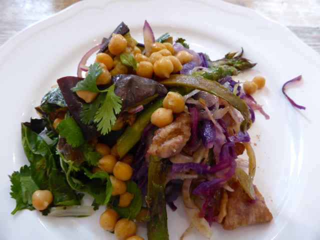 chick pea and chicken salads