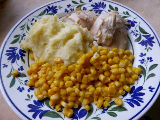 chicken, corn and potato