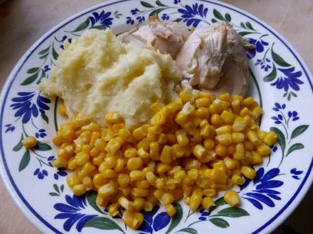 chicken, corn and potato
