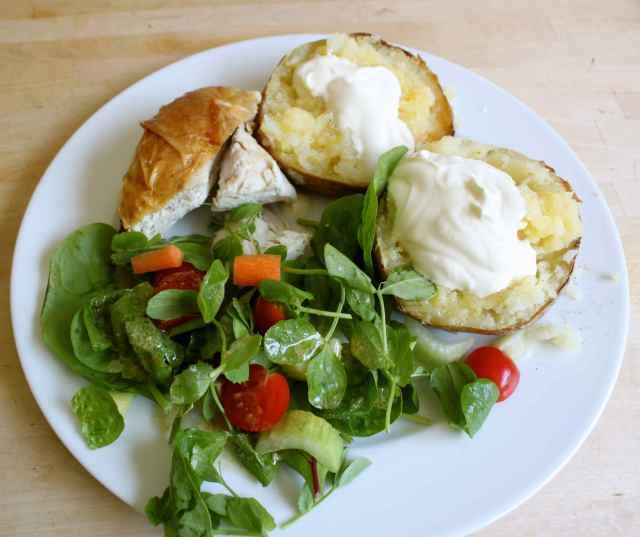 chicken salad and potato