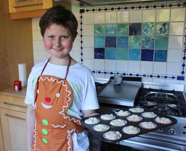 Harvey with cupcake mixture