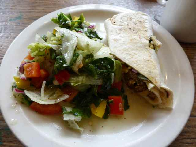 salad and wrap in Foyles cafe