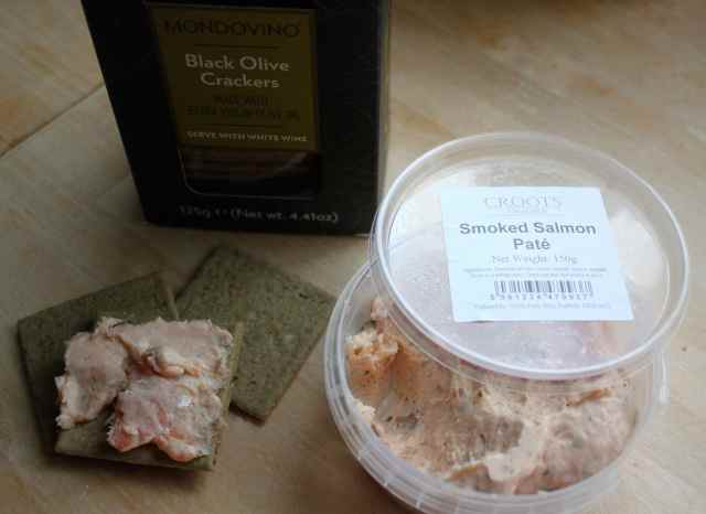 salmon pate and olive crackers