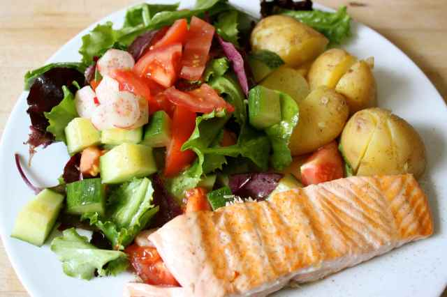 salmon, potato and salad