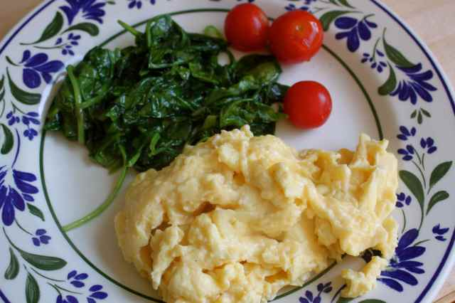 spinach, egg and toms