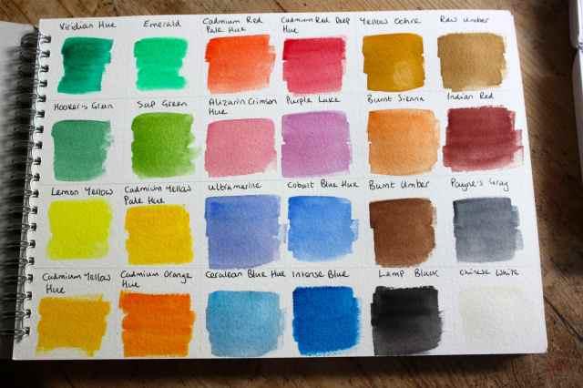 watercolours colour chart
