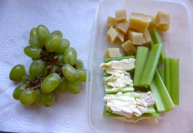 grapes, celery and cheese