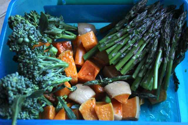 green and orange veg