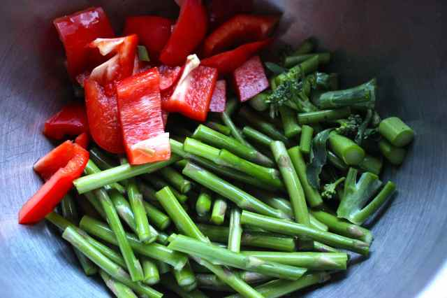 green and red veg