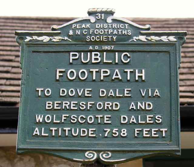 Peak District sign