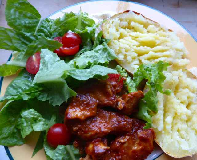 BBQ chicken and salad
