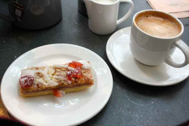 coffee and almond slice