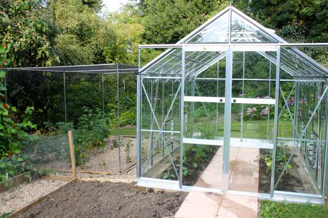 fruit cage and greenhouse