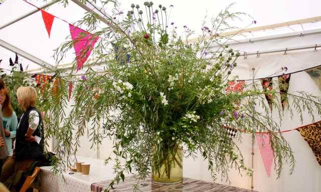 huge vase of flowers