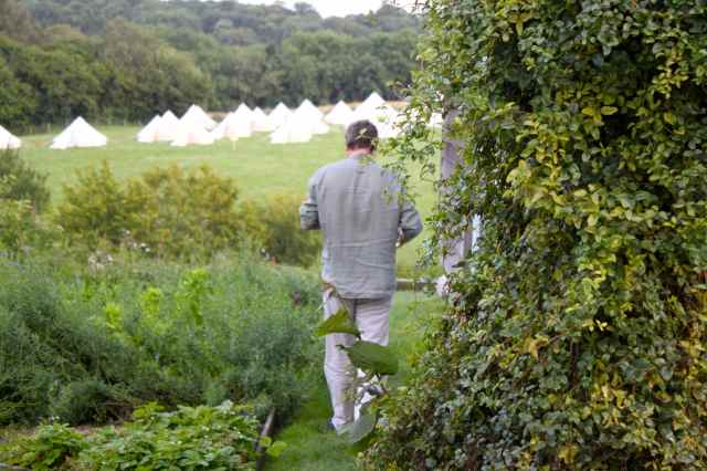 Hugh walking in garden