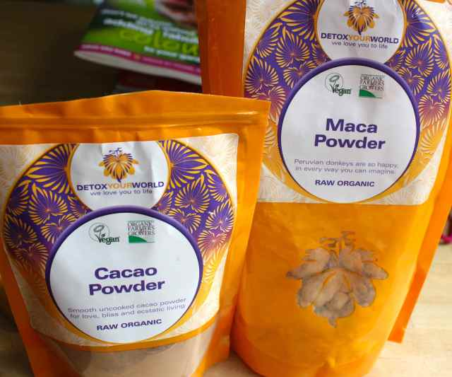maca and cacao powder
