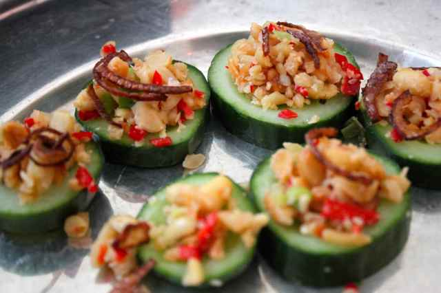 onion and nuts on courgette