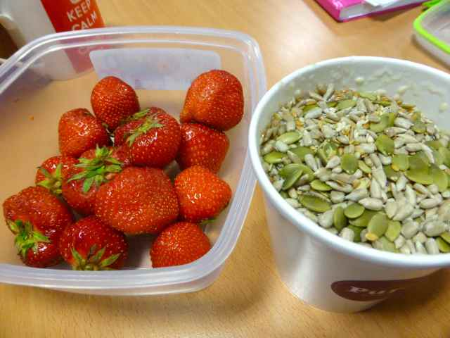 porridge and strawberries