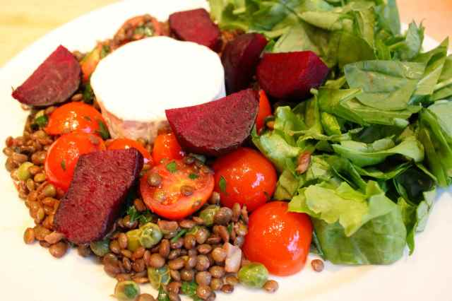 roast beetroot and lentil