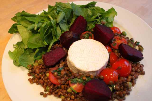 roast beetroot lentil and goats cheese