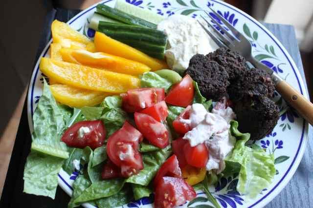 salads and falafel