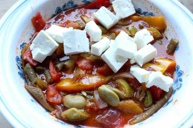bean ratatouille and Feta