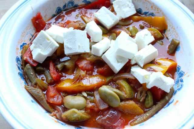 bean ratatouille and Feta