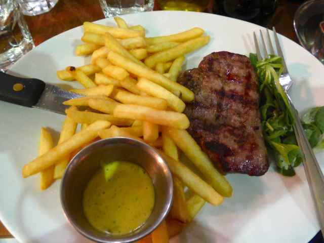 Black and Blue steak and chips