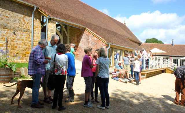 chatting at Symondsbury Barn
