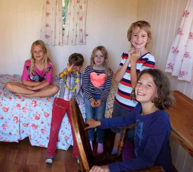 children in Shepherd's hut