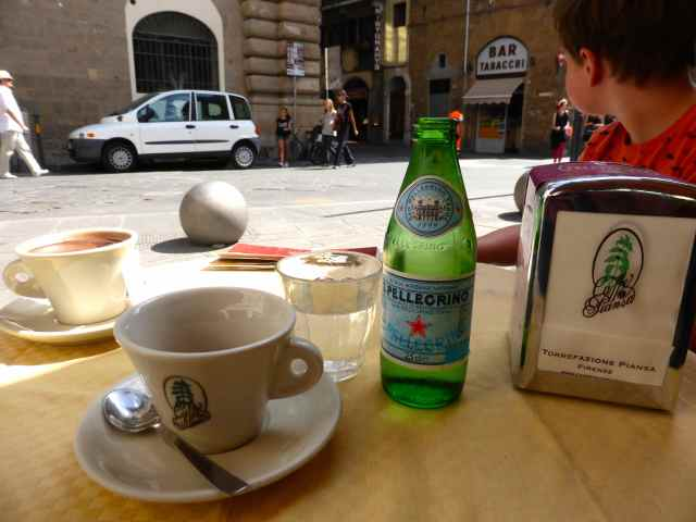 Espresso and Pellegrino