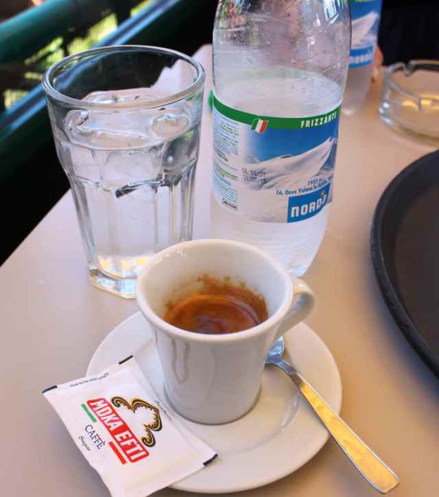 espresso and water at PM