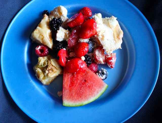 fruit, meringue and cream